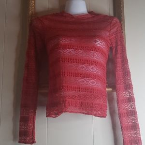 Miss Chievous Red Lace Sheer Long Sleeve Top